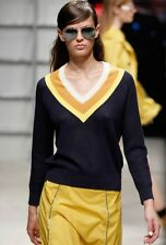 Band of Outsiders Navy Blue Yellow V Neck Tennis Sweater Size 1