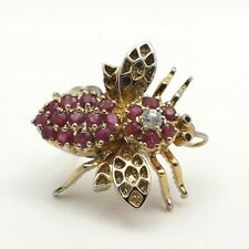Gold Vermeil Sterling Silver Natural Ruby Bumblebee Bee Fly Brooch Pin Pendant