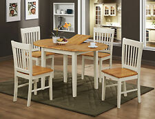 Dining Kitchen Table Set White Extending Oval Four Chairs - Natural Oak Finish