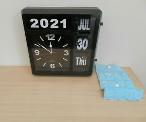 """Large Bank Office Analog Flip Wall Clock 13"""" Day Date Month Year ~ Spares/Repair"""