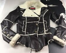 Apple Bottoms Faux Sherling Jacket Coat Faux Leather Size Small