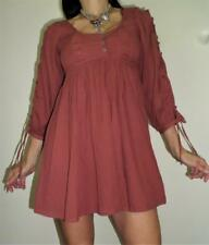 NWT hippie boho retro 70s SMOCK top DRESS 10 split sleeve RUST fine cotton NEW