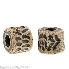 50 Grau Porzellan Keramik Perlen Beads Spacer Zylinder Gravur 10x9mm