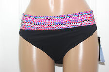 NEW Profile by Gottex Black Pink Foldover Banded Swim Bikini Bottom size 12