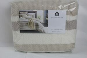 Hotel Collection Honeycomb Stripe KING Duvet Cover Linen/Cotton Ivory Multi $420