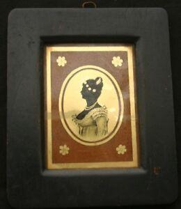 Verre Eglomise Miniature Portrait of a Lady 19th C.
