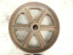 """Vintage Industrial Machine Cast Iron Wheel Pulley 10"""" across 3"""" wide 6 spoke"""