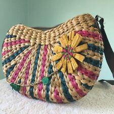 Multicolored Boho Hand Woven Straw Purse Shoulder Bag Handbag Flower