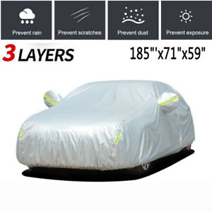 Full Car Cover Waterproof Auto Protection Rain Snow Resistant Fits Small Sedans