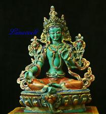 Grüne Tara, weiblicher Buddha Handgefertigt und handbemalt aus Nepal