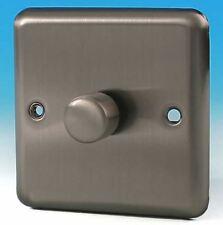 Varilight V-Pro 1 Gang 2 Way 400W Push on/off LED Dimmer Switch Matt Chrome