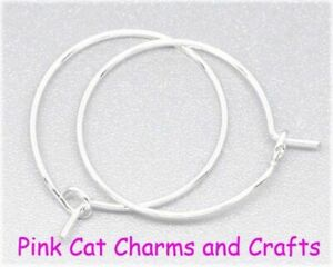 Wine Glass Charm Rings Hoops Small 24 x 20mm Silver Plated