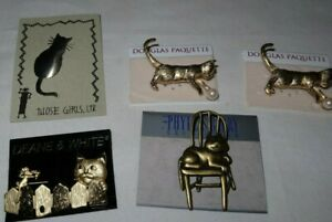 LOT Vintage Kitty Cat Brooches Pins Jewelry Douglas Paquette Phyllis Barry D&W