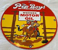 VINTAGE PEP BOYS MOTOR OIL PORCELAIN SIGN GAS STATION PUMP PLATE MOTOR OIL