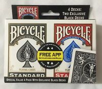 Bicycle Standard Index Playing Cards Poker Size 4 Decks 2 Exclusive Black NEW