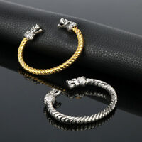 Viking Dragon Head Bracelet Alloy Medieval Norse Torc Skyrim Silver Gold Jewelry