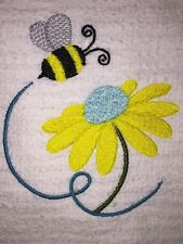 Embroidered White Kitchen Bar Hand Towel Bs1029 Bumble Bee & Yellow Flower