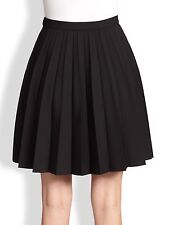 Red Valentino Black Pleated Side Zip Skirt Size IT 42 UK 10 Polyester Wool