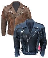 Mens CE Armoured Motorcycle Cowboy Tassel Fringe Cruiser Leather Jacket XS-5XL