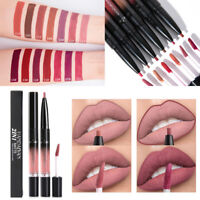 Double-end Matte Lipliner Pen Lasting Lip Gloss Liquid Lipstick Makeup Beauty