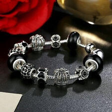 20cm DIY European Silver Plated Black Glass Bead & Crystal Charm Bracelet Chain