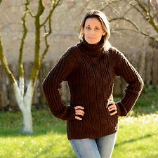 ❤ SALE ❤ BROWN Hand Knit Wool non Mohair Sweater Soft Turtleneck EXTRAVAGANTZA