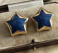 Vintage Star Clip On Earrings Signed Gold Tone Blue Enamel