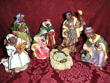 Vintage Black Ceramic Nativity Set ~ ( 8 ) Eight Pieces ~ Made in China