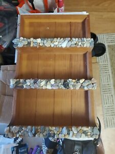 Vintage Wooden 3 teir Shelves Wall Decor Display Knick, handmade/designed rocks