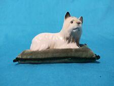 vintage Rare porcelain Yorkie Figurine on green velveteen pillow Ardalt Japan