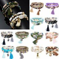 Charm Multi-layer Crystal Beads Tassel Bracelet Bangle Stretch Lady Jewelry Gift