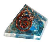 Reiki Energy Apatite Orgone Orgonite Blue Crystal Gemstone Pyramid Gift Wrapped