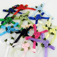 Triple Trio Roses , Cluster ,Satin Ribbon Bows With Pearls  5 pack, many colours