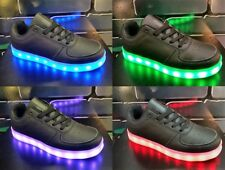 BRAND NEW Adults US Sizes LED Light Up Shoes Men Women Sneakers USB Charge-Black