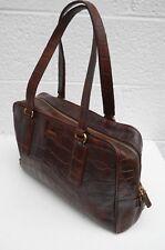Fossil Dark Brown Crocodile Pattern Leather Doctor's Style Roomy Handbag