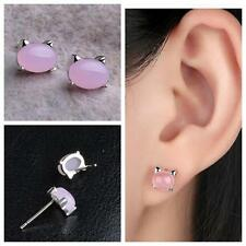 1Pair Jewelry Wedding Women Ear Stud Silver Plated Earring Rose Quartz