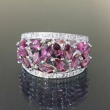Estate 10k White gold Natural Pink Topaz & Diamond Cluster ring band .70ctw