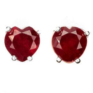Red Ruby Heart Cut 6mm 14k White Gold Plate 925 Sterling Silver Stud Earrings
