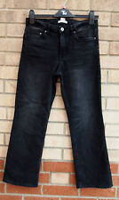 H&M SHORT CROP  DARK GREY FADDED MID FLARE STARIGHT LED DENIM JEANS TROUSERS M L
