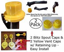 Combo Pack 2 BLITZ Yellow Spout Caps 2 Vent Caps FIX YOUR GAS CAN 4pcs total NEW