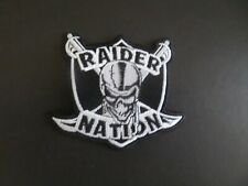 OAKLAND RAIDERS-NATION SILVER & BLACK EMBROIDERED IRON ON PATCHES  3 X 3-3/8