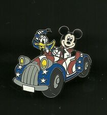 Donald Duck Mickey Mouse in USA Flag Themed Car Splendid Walt Disney Pin