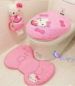 4PCS New Pink Hello Kitty Toilet Seat Cover Cartoon Bathroom Lid Mat Set