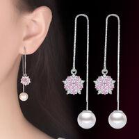925 Silver Tassel Earrings Pink Oval Crystal Flower Pearl Style Women Jewelry