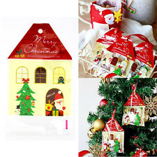 50Pcs Christmas House Cellophane Candy Biscuit Gift Party Favour Red Bags Set