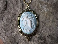 MERMAID ON BLUE CAMEO ANTIQUED GOLD TONE PENDANT NECKLACE - VACATION - CRUISE