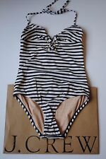 NWT J Crew Sailor Stripe Lace Up Tank in Ivory Navy Sz 2 XS A1547 $110 Cute!
