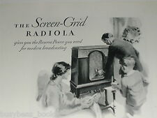 1929 RCA advertisement for RCA RADIOLA 46 cabinet radio, Radiotrons tubes