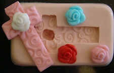 SILICONE MOULD 3d ROSE FLOWER CROSS CHRISTENING CUPCAKE CAKE RESIN FIMO CLAY