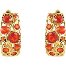 Genuine Natural Mexican Fire Opal .94ctw 14k Yellow Gold Earrings